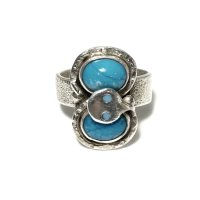 【PRICEDOWN 50%】INDIAN JEWELRY  ZUNI族 Jude Candelaria作 TURQUOISE SNAKE RING SILVER/ズニ族 ジュードカラバサ作 インディアンジュエリー ターコイズ スネーク リング