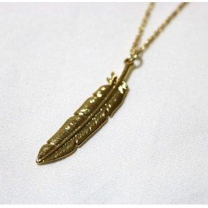 画像1: FEATHER NECKLACE GOLD/ フェザー ネックレス ゴールド