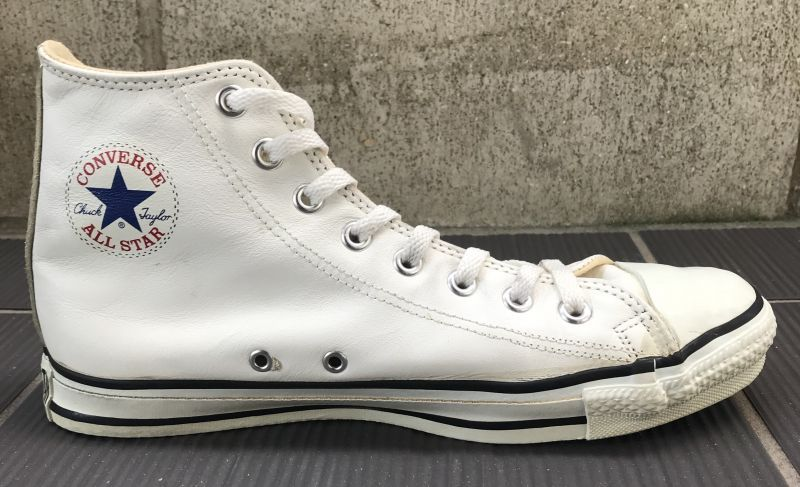6116a4f0e97d68 90年代 MADE IN USA VINTAGE CONVERSE ALLSTAR HI LEATHER WHITE コンバース アメリカ製  オールスター ハイ レザー ホワイト